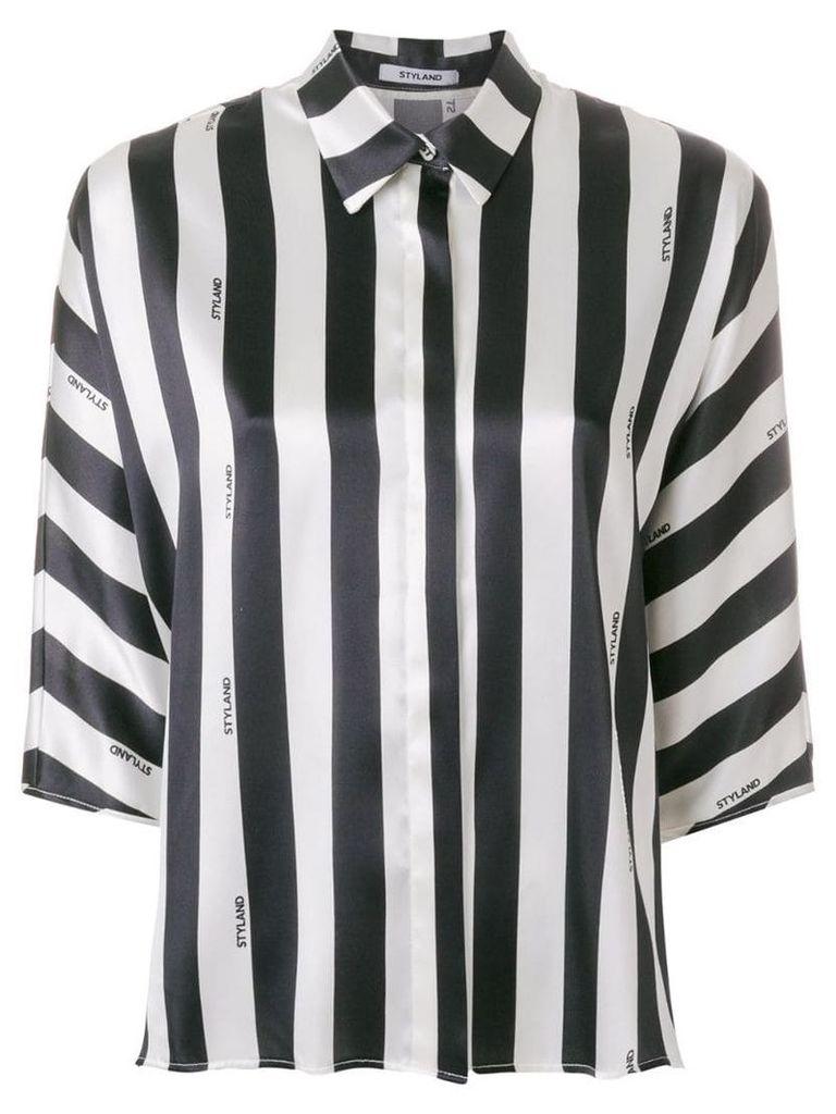 Styland striped design blouse - Black