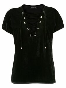 Olympiah lace-up velvet blouse - Black