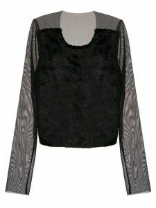 Gloria Coelho tulle cropped blouse - Black