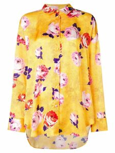 MSGM floral print satin blouse - Yellow