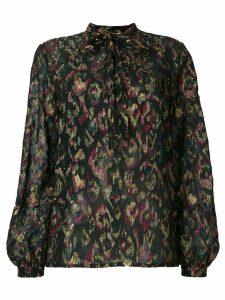 Saint Laurent tie neck abstract blouse - Black