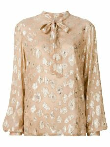 Saint Laurent foiled floral tie neck blouse - Neutrals