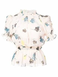 Self-Portrait floral ruffle peplum top - Pink