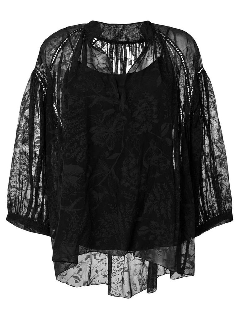 Noon By Noor burnout floral relaxed henley neck ruched blouse - Black