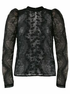 Self-Portrait puff-sleeved lace blouse - Black
