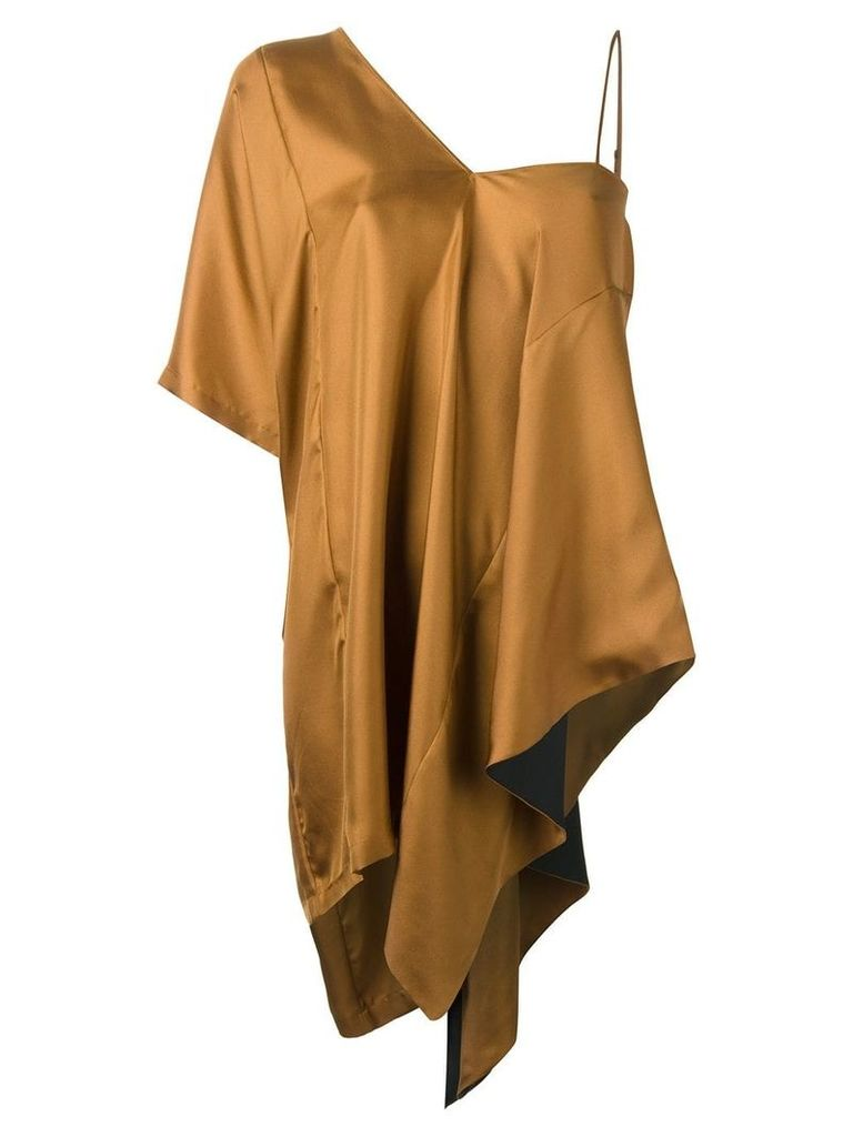 Maison Margiela asymmetric draped blouse - Brown