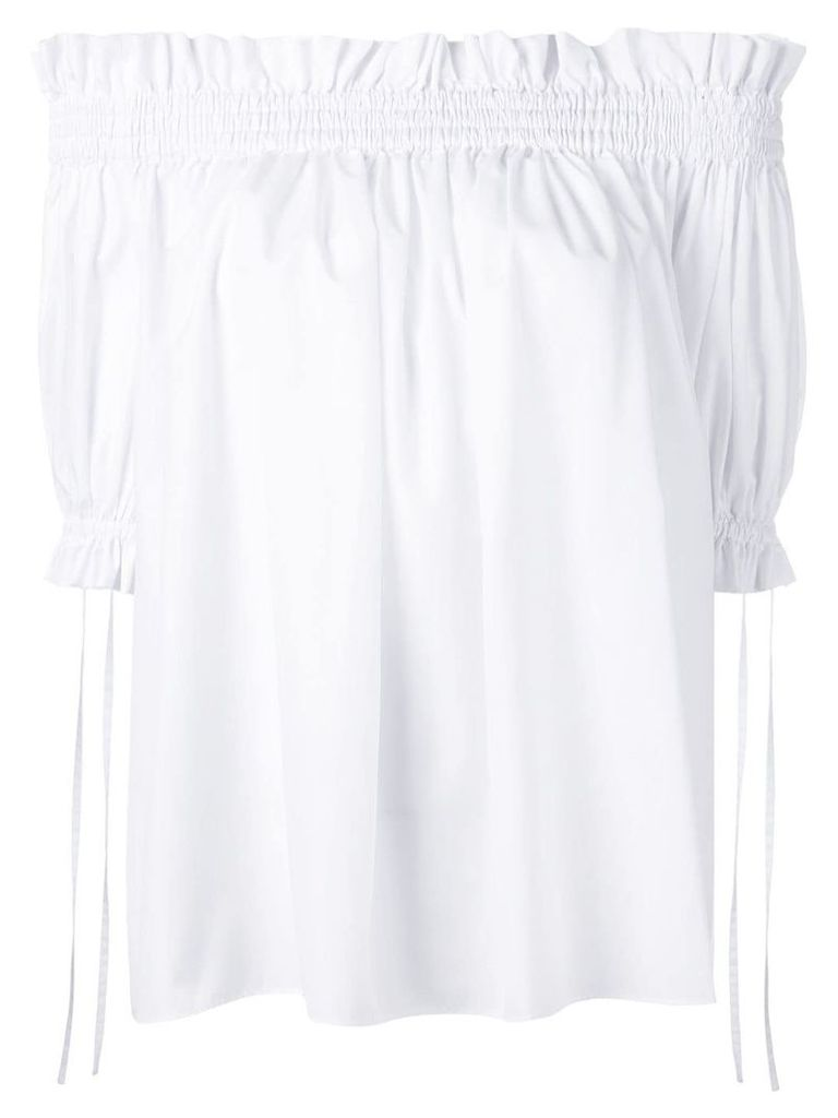 Alexander McQueen off-the-shoulder smocked blouse - White