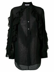 Givenchy ruffled style transparent blouse - Black