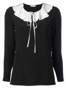 Saint Laurent monochrome ruffle collar blouse - Black