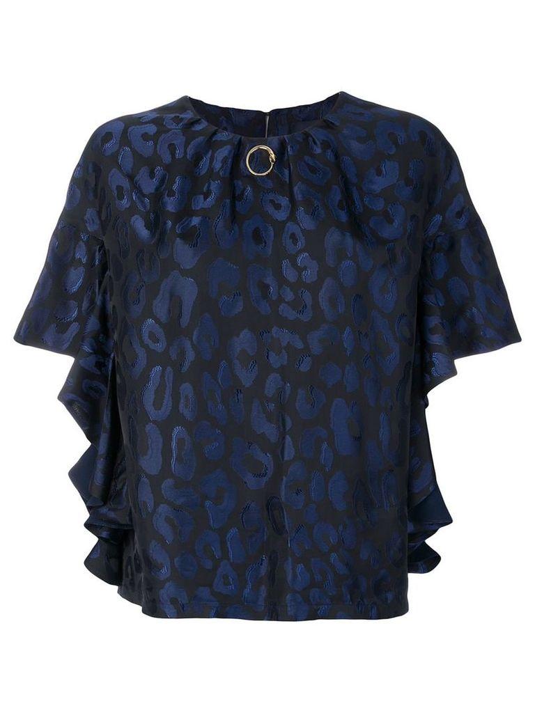 Cavalli Class gathered leopard blouse - Blue