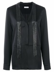 Paco Rabanne long embellished blouse - Black