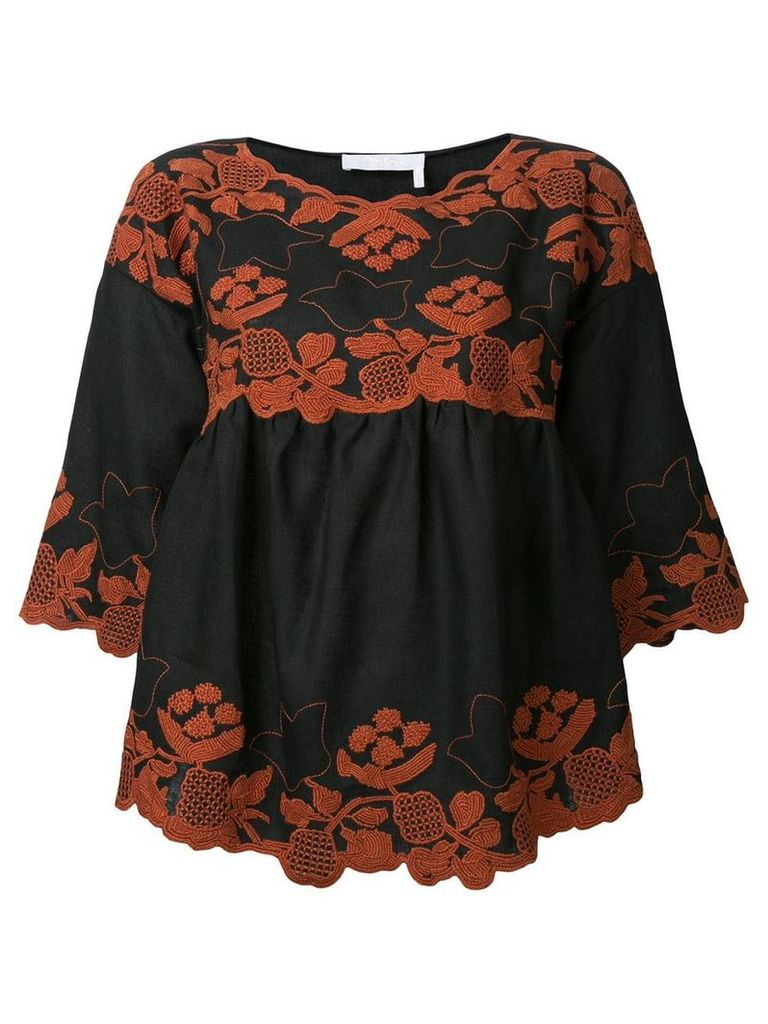 Chloé folk embroidered blouse - Black