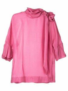 Paule Ka tie neck woven blouse - Pink