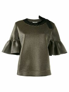 Fendi short bell sleeve blouse - Black