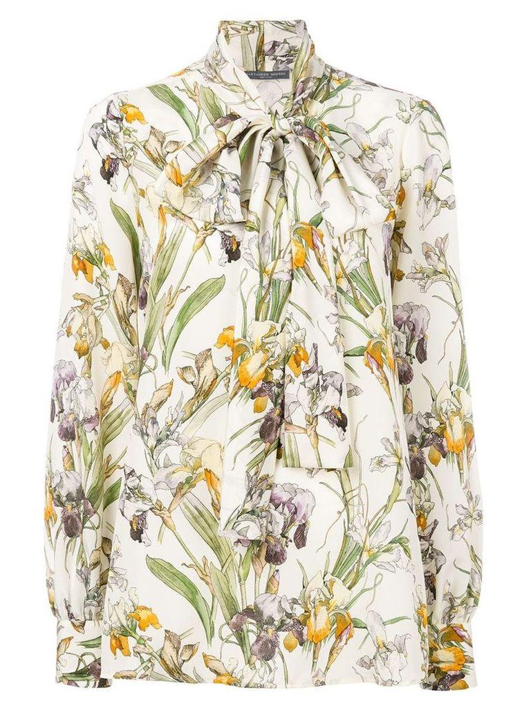 Alexander McQueen Wild Iris bow tie blouse - Neutrals