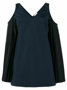 Monographie Pleated Sleeve Cold Shoulder Top - Blue