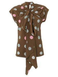Marni polka-dot bow blouse - Brown
