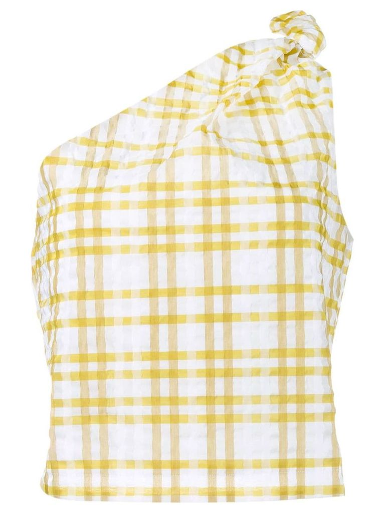Rosie Assoulin checked on shoulder top - Yellow