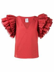 Rosie Assoulin maxi ruffle sleeve blouse - Red