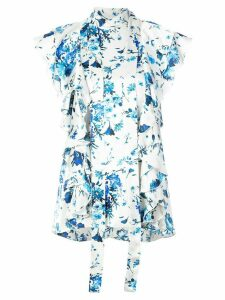 Adam Lippes floral-print ruffled tie-neck top - White