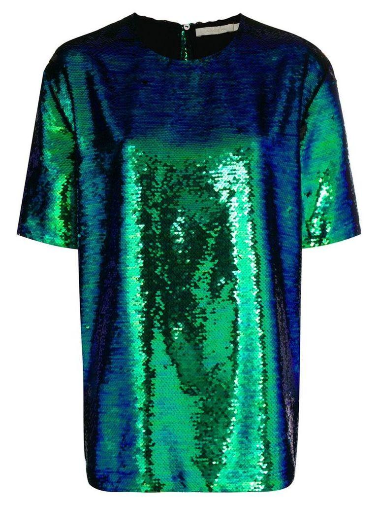 Amen short sleeve sequin top - Green