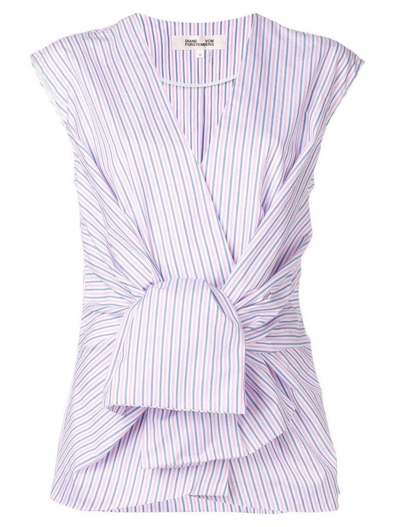 Dvf Diane Von Furstenberg striped knot front blouse - Pink