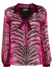 Just Cavalli animal-print sheer blouse - Pink