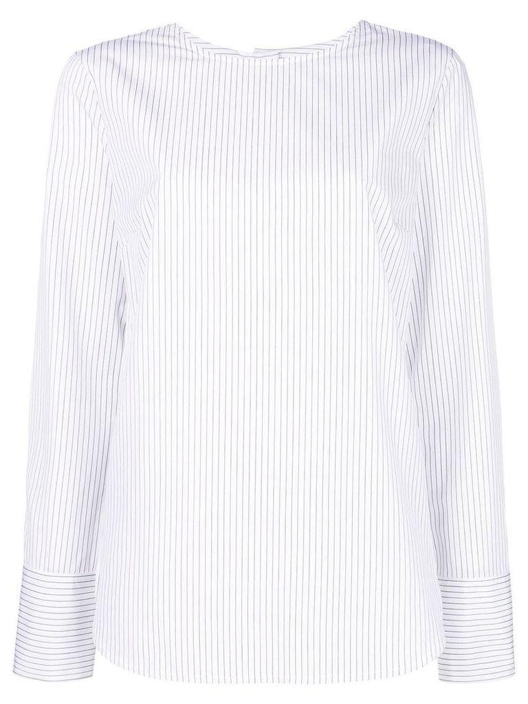 Odeeh striped round neck blouse - White