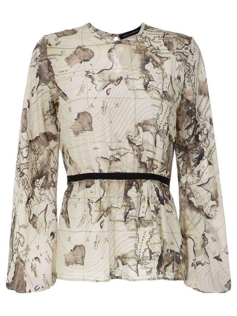 Andrea Marques maps print blouse - Neutrals