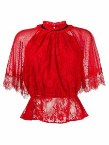 Three Floor lace patterned blouse - Red