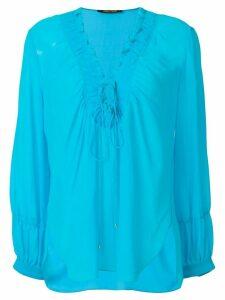 Roberto Cavalli laced neck blouse - Blue