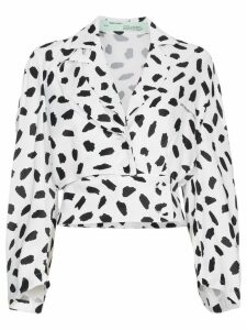 Off-White V-neck pois print long sleeve blouse