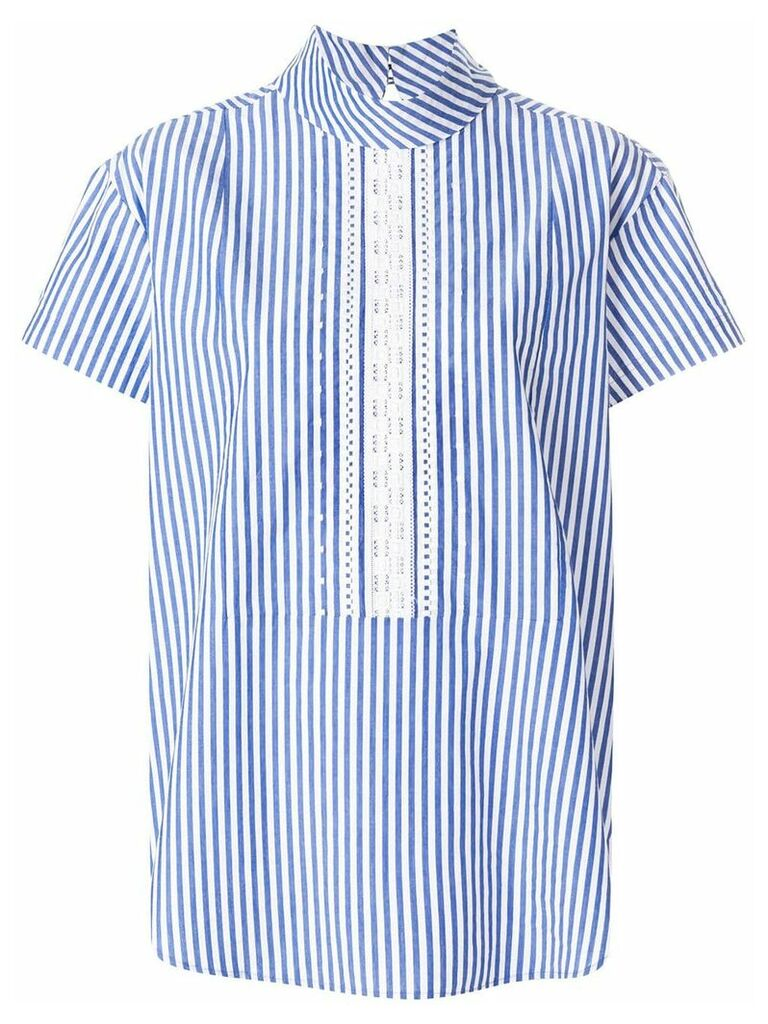 PS Paul Smith short sleeve striped blouse - Blue