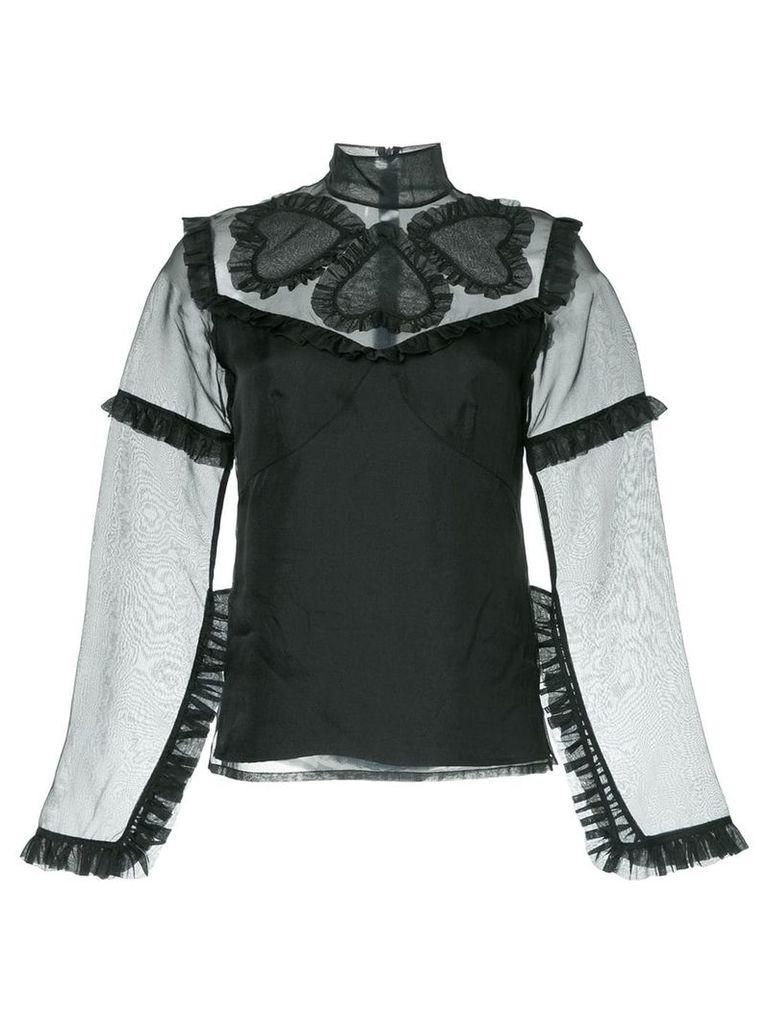 Macgraw Queen of Hearts organza top - Black