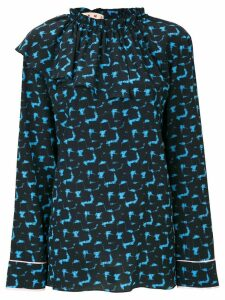 Marni printed top with a ruffle neck - Blue