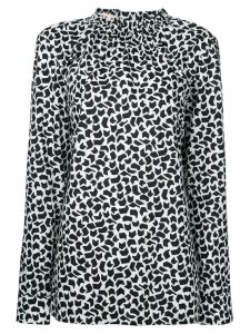 Marni geometric print long sleeve blouse - White