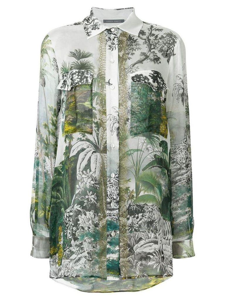 Alberta Ferretti long sleeved gardenia blouse - Green