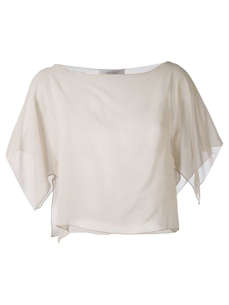 D.Exterior semi-sheer cropped blouse - Neutrals