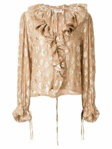 Saint Laurent frill long-sleeve blouse - Neutrals