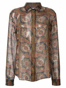 Saint Laurent paisley embroidered shirt - Brown