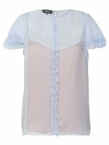 Rochas ruffled trim blouse - Blue