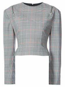 Monse plaid zipped shoulder top - Grey