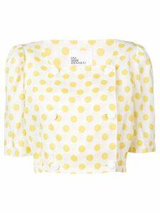 Lisa Marie Fernandez polka-dot cropped blouse - Yellow
