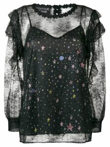 Boutique Moschino lace star blouse - Black