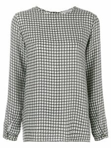 Dusan graphic check effect blouse - Black