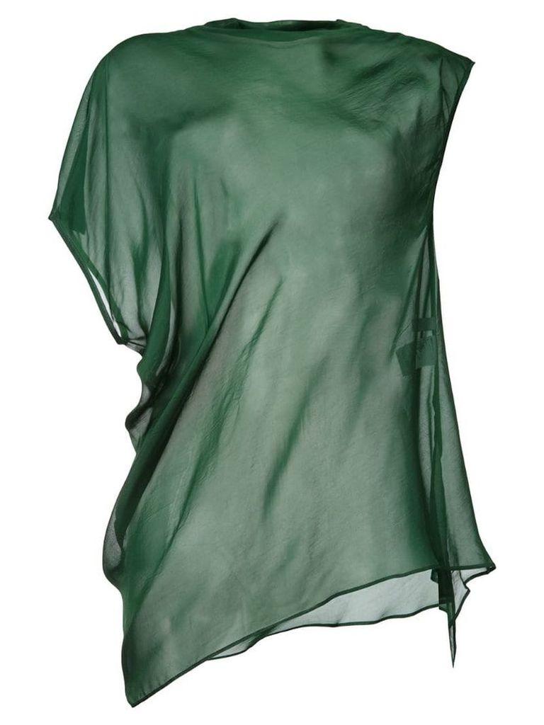 08Sircus sheer asymmetric hem top - Green