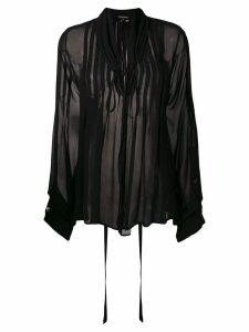 Ann Demeulemeester pintucked chiffon blouse - Black