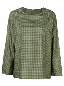 Apuntob vichy print boxy blouse - Green