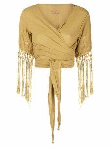 Caravana wrap top with fringe sleeves - Yellow