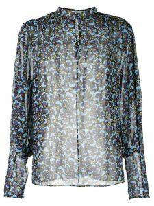 Mary Katrantzou Sheer Pansy print blouse - Blue